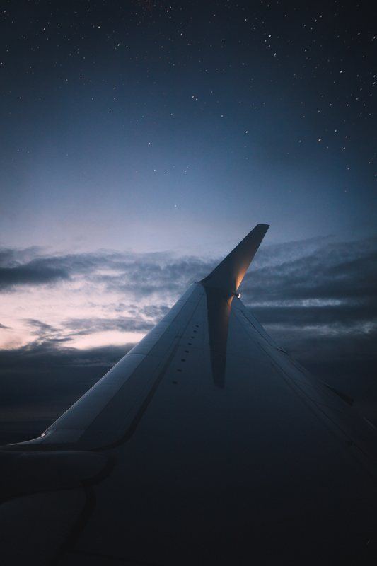 Starry sky from a plane