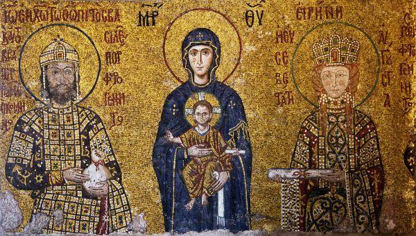 Resultado de imagem para pintura bizantina imperador