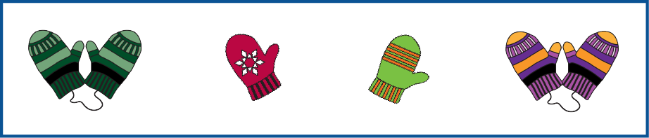 A red circle and a blue circle overlap. The red circle has green mittens. Some are single. Some are in pairs connected by strings. The blue circle has pairs of mittens connected by strings. Two pairs are green. One pair is blue. One pair is red. One pair is orange and purple. Where the circles overlap, the mittens are green and in pairs connected by strings. Some single mittens are outside the circles. They are gray, red, blue, and orange and purple.