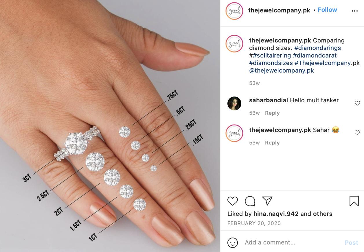 Instagram post comparing diamond sizes