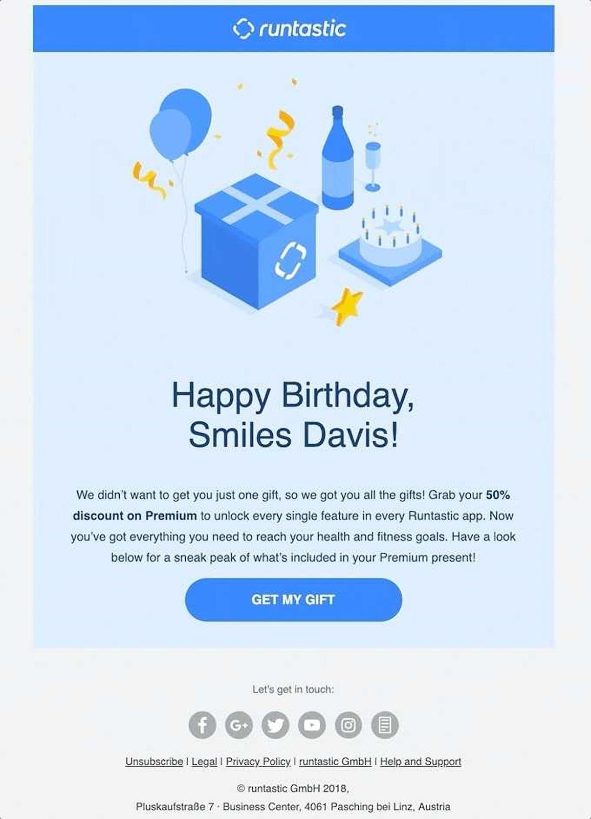 Runtastic email example