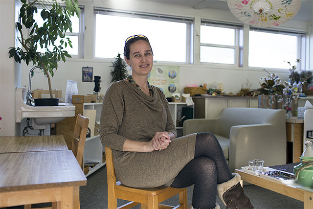 Katy Moon sits in the Mountain Valley Montessori School classroom, one of 22 venues for Saturday's Jazz Walk. - Allyce Andrew/Staff Photo