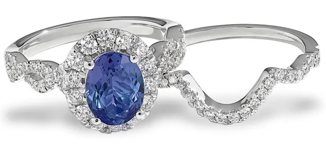 diamond halo ring set