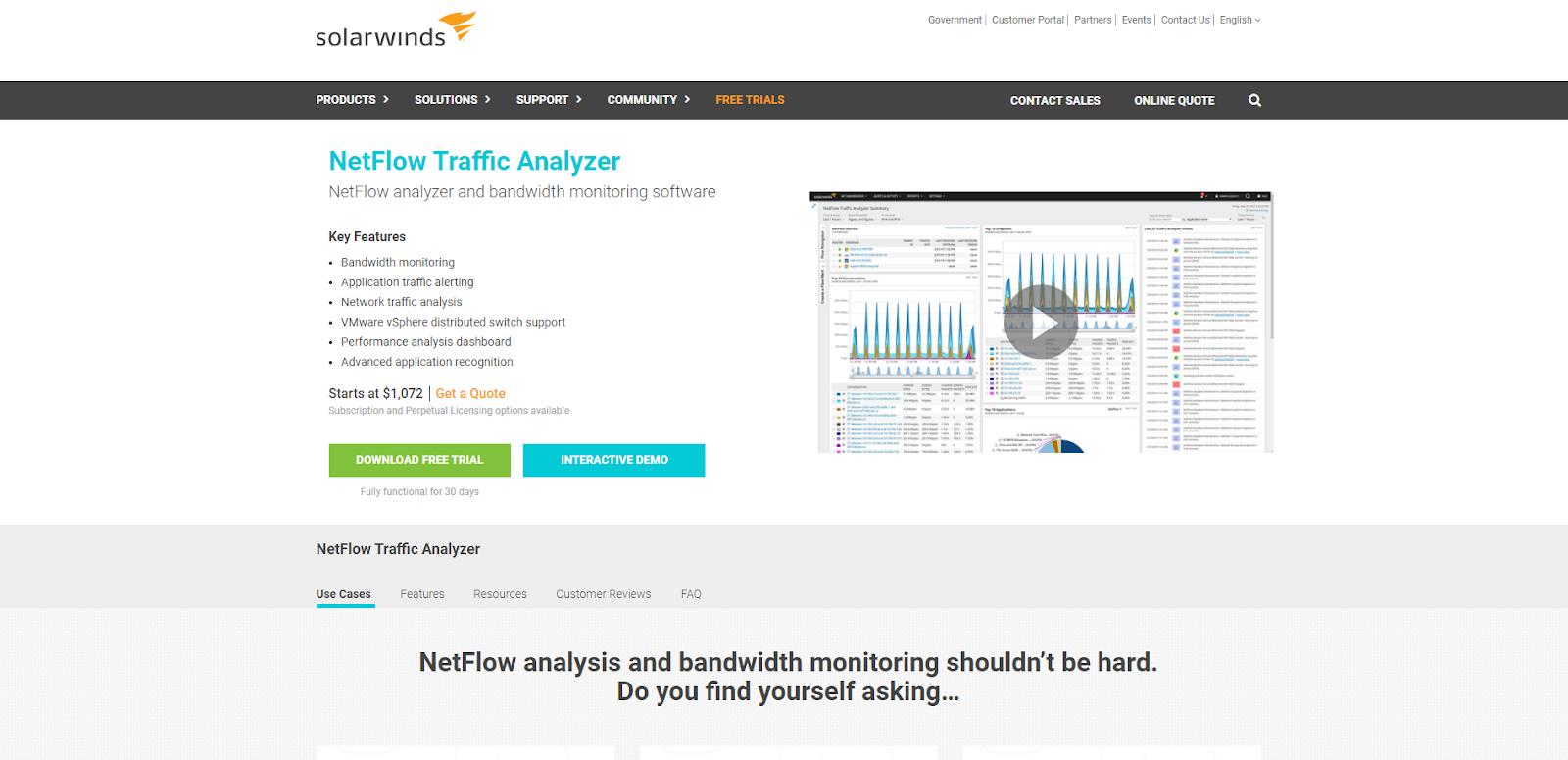 Network Flow Analyzer - SolarWinds NTA