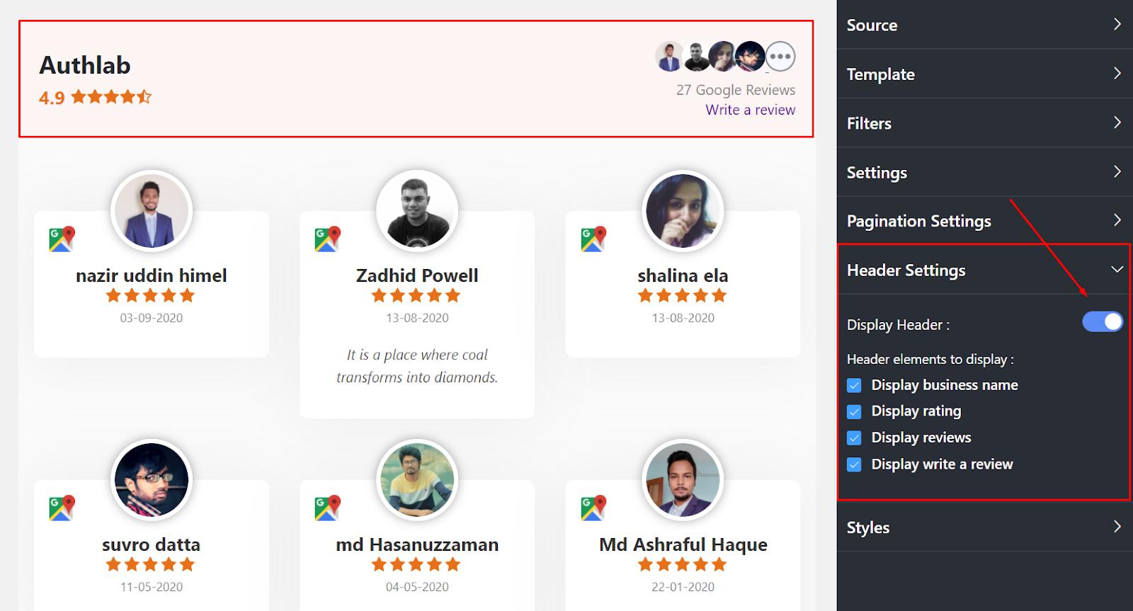 Google reviews display header