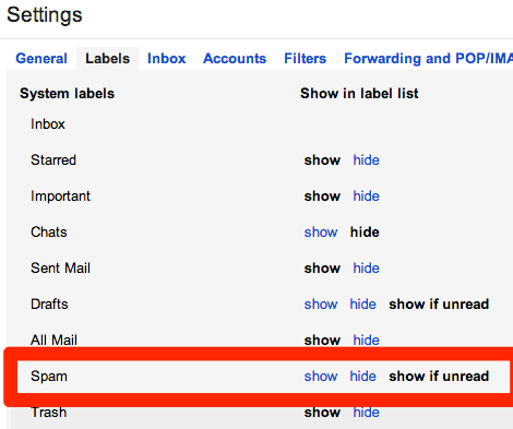 Google mail settings, Labels tab, Spam label highlighted