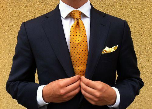 Blue and yellow... | Well dressed men, Mens fashion, Navy suit