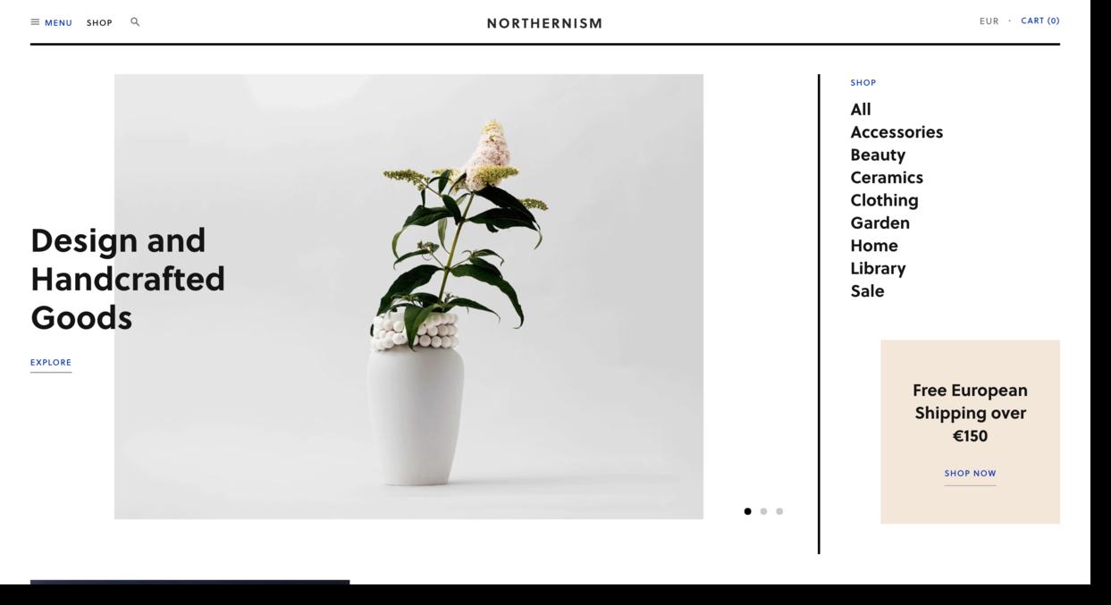 Northernism store website screenshot Ecommerce Website Designs