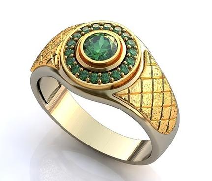 мужской перстень с изумрудами круглой формы