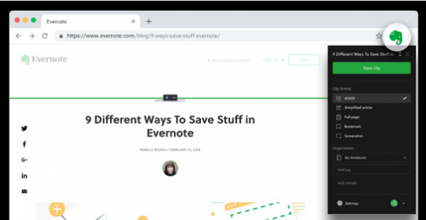 chrome extensions for social media-Evernote Web Cutter