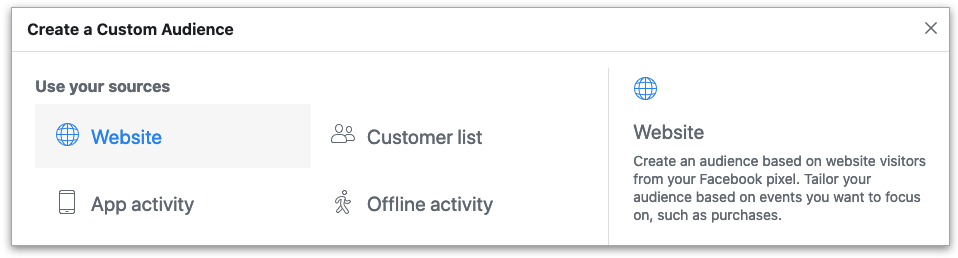 Screenshot of Facebook Business Manager's create audience section