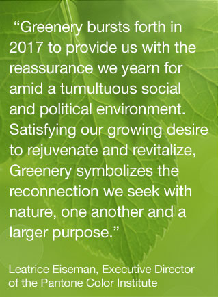 Pantone's color of the year 2017 | greenery | color trends | decor | green decor | Find out more → http://schulmanart.blogspot.com/2017/03/whats-new-in-color-trends-for-2017.html