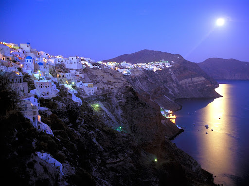 Moonrise Over Santorini