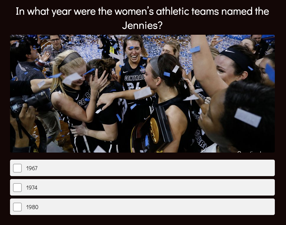 college quiz question about sports team