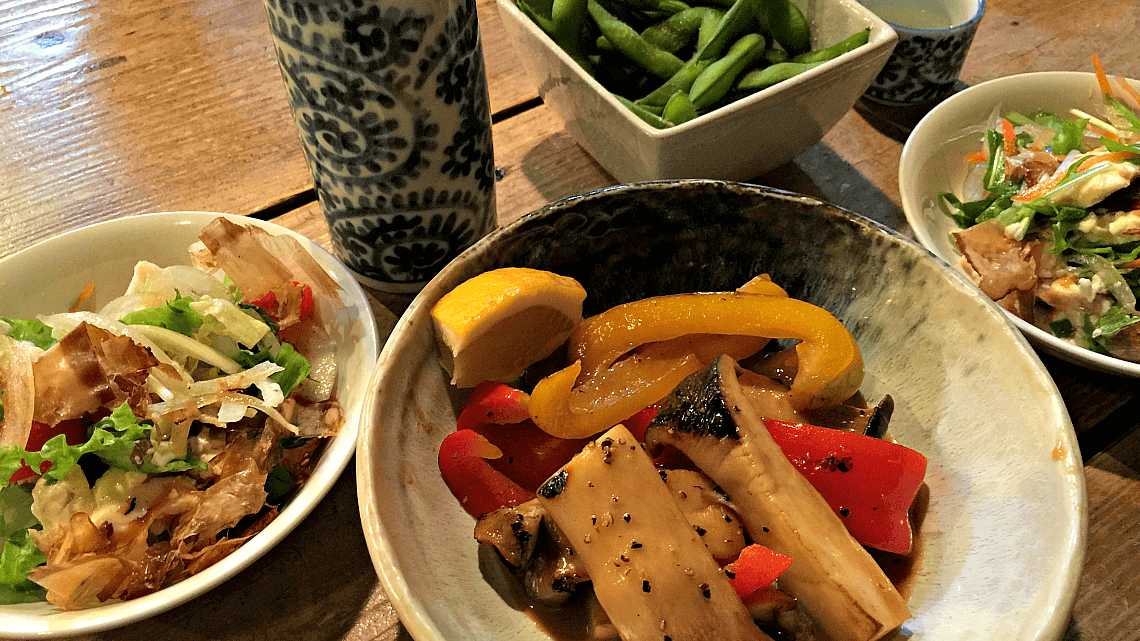 Food served at a local izakaya in Onomichi, Hiroshima Prefecture, Japan