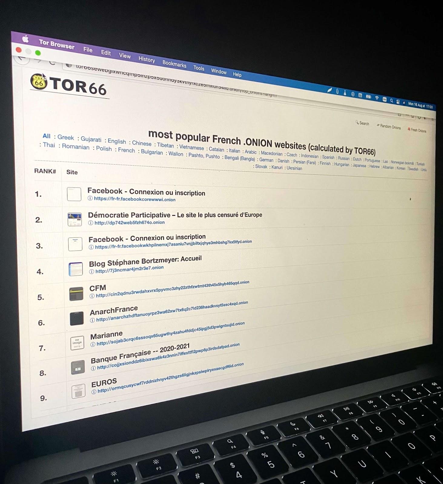 annuaire de site sur le darkweb