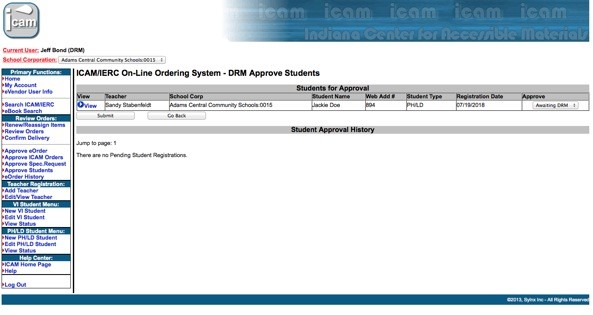 On-line Ordering Approve Student Form