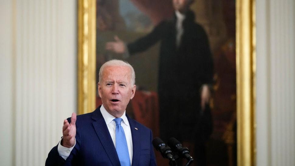 WASHINGTON, DC - AUGUST 23: U.S. President Joe Biden speaks during an event to honor the 2020 WNBA champions Seattle Storm in the East Room of the White House on August 23, 2021 in Washington, DC. The Storm defeated the Last Vegas Aces in the 2020 WNBA Finals to win their 4th title as a franchise. (Photo by Drew Angerer/Getty Images)