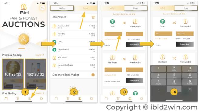 Hướng dẫn swap iBid token sang USDT để rút về ví và chốt lời ra VND