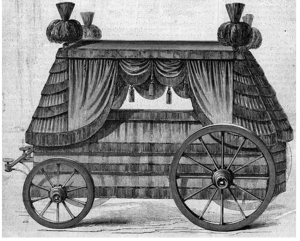 "Image of Funeral chariot of Emperor Napoleon I (1769 - 1821) to Saint Helene (Saint Helene) offered by the Queen of England Victoria 1st to Napoleon III in 1858. Engraving in """" Le Monde Illustre"""" no 76 of 25 September 1858. French School (19th century) © Stefano Bianchetti / Bridgeman Images"