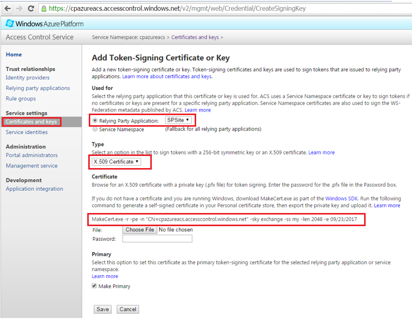Azure ACS Add Token Signing Certificate and Keys