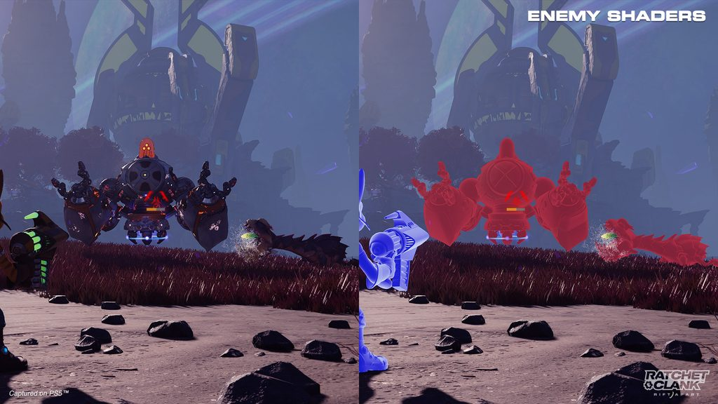 Side-by-side screenshots of Ratchet facing off against a Nefarious Juggernaut and a Savali Spitter. The left side is in full color. The right has Hero and Enemy Shaders on, so Ratchet is shaded blue and the two enemies are shaded red.
