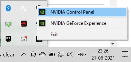 The Nvidia Control Panel option from the Nvidia symbol in the task tray