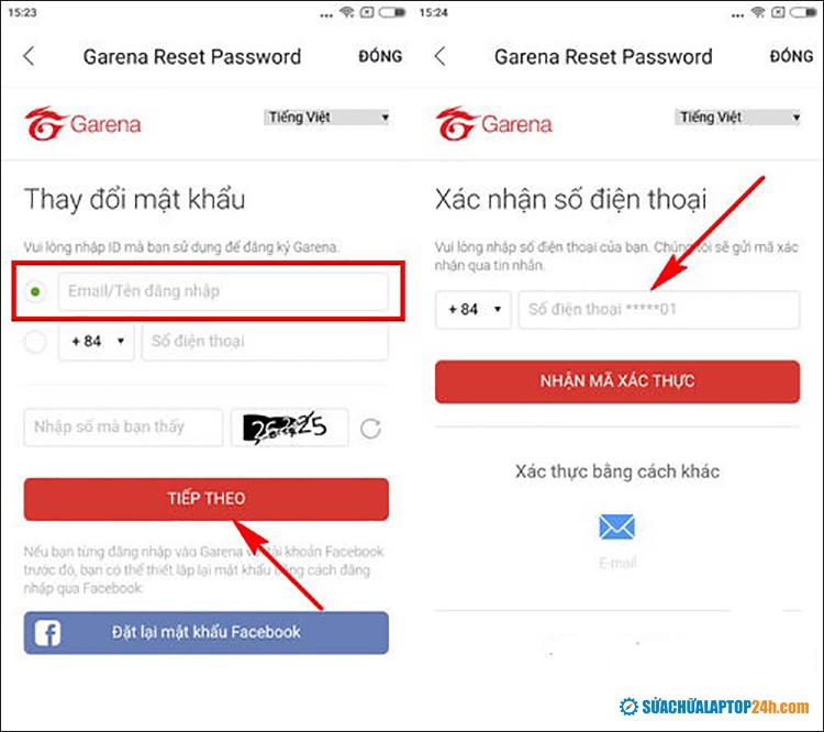 Nhập email và mã bảo mật của bạn và xác nhận