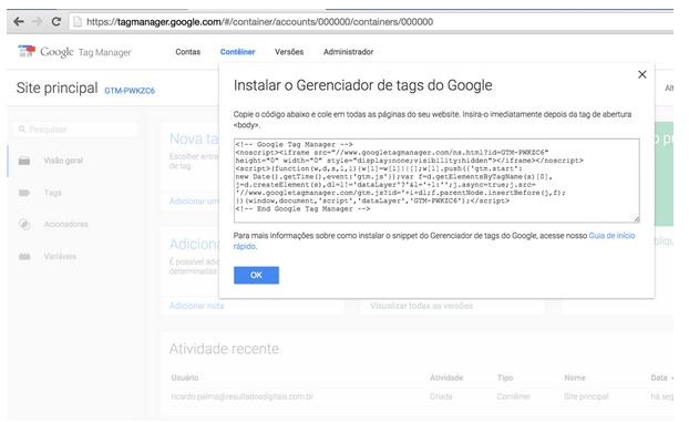 Google Tag Manager : Instalação