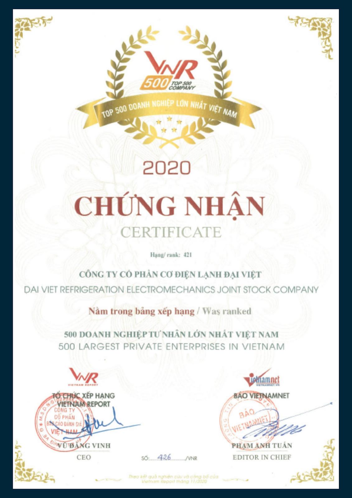 Top 500 Doanh nghiệp tư nhân lớn nhất Việt Nam 2020.