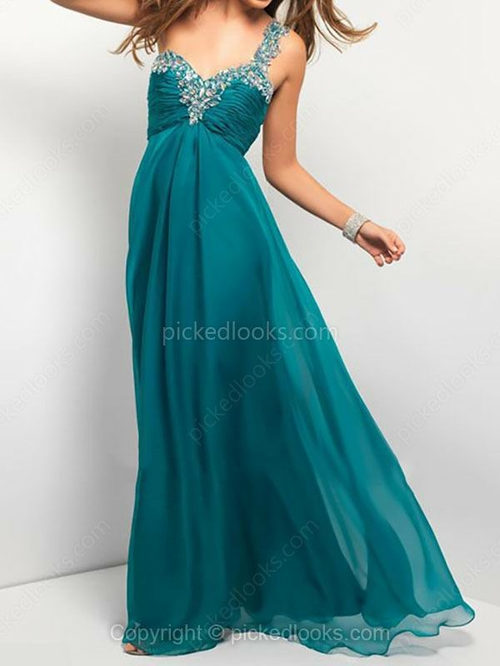 Chiffon One Shoulder Floor-length Empire Rhinestone Prom Dresses #PLS02014787