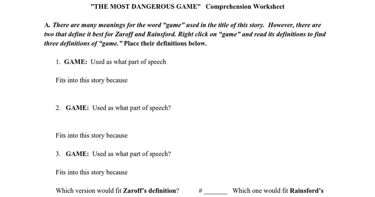 The Most Dangerous Game intro worksheet Google Docs – The Most Dangerous Game Worksheet