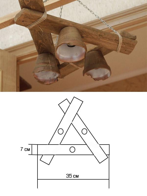 Деревянная люстра своими руками с чертежом