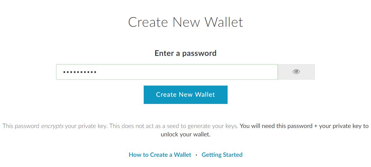 Wallet aanmaken op MyEtherWallet new wallet