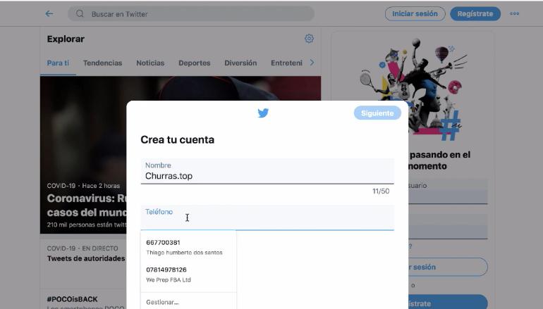 criando conta no twitter