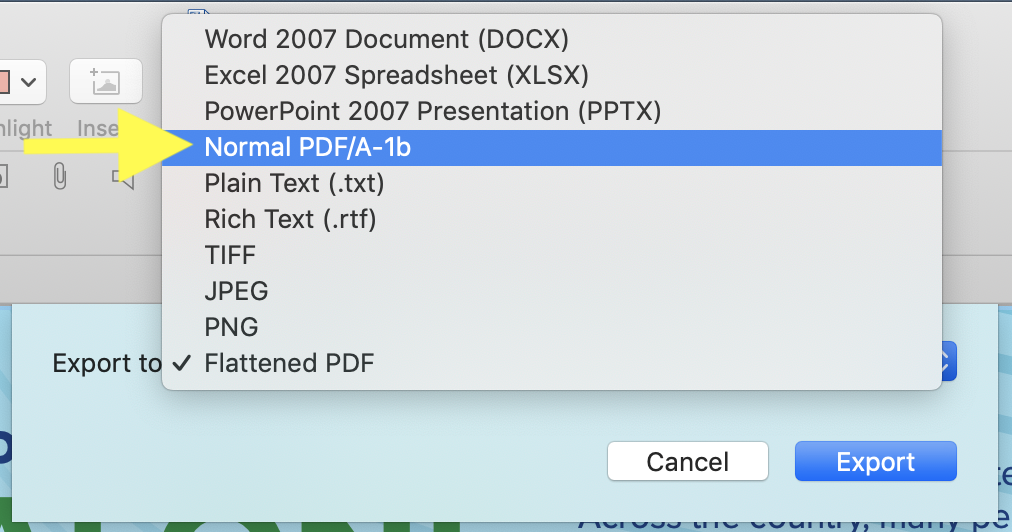 Choose Normal PDF/A-1b from the Export dialog to export to make files PDF/A-1b compliant.