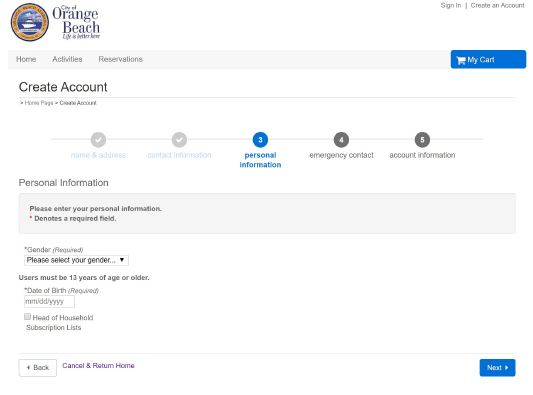 ActiveNet account creation screenshot to help guide new users