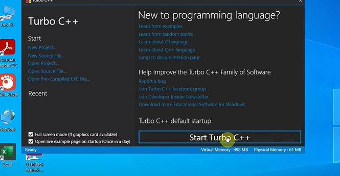 """Click """"Start Turbo C++"""" located on the bottom right of the window. This will launch the Turbo C++ compiler."""