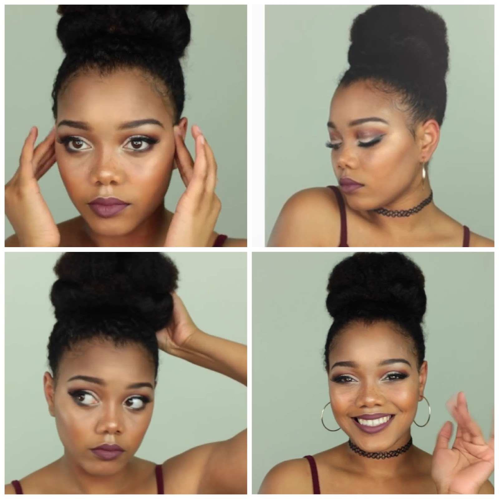 natural  hair bun style