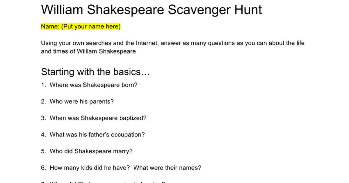 Shakespeare Scavenger Hunt Google Docs