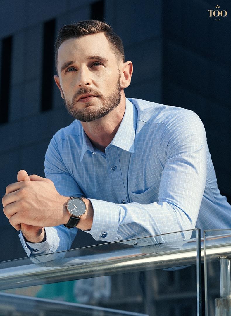 Mẫu áo sơ mi xanh K280CS với hoạ tiết và màu sắc nhã nhặn, tạo sự tinh tế, lịch lãm cho các quý ông