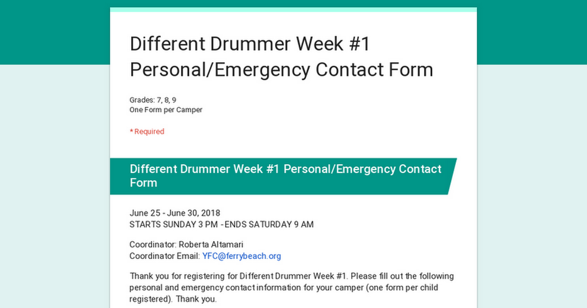 different drummer week 1 personal emergency contact form