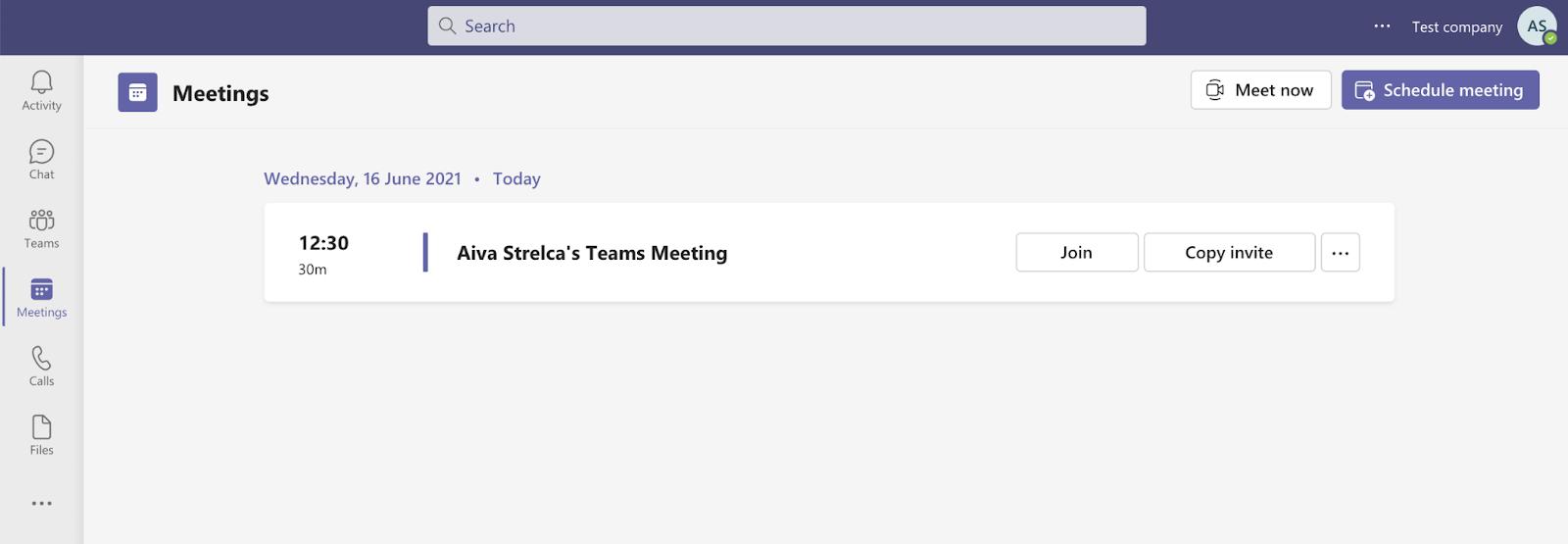 Meetings section on Microsoft Teams