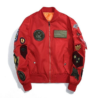 Red army jacket with logo designs of United States Army Patch on the right chest, US Flag Patch on the left chest and other logo patches of ranks on the sleeves