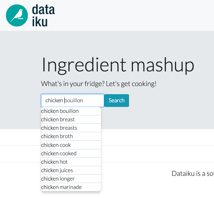 search engine for ingredients Dataiku fun project