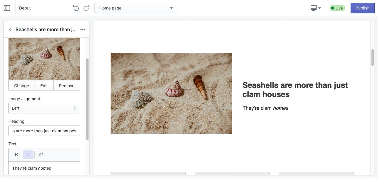 Screenshot Shopify website baukasten editor für homepage