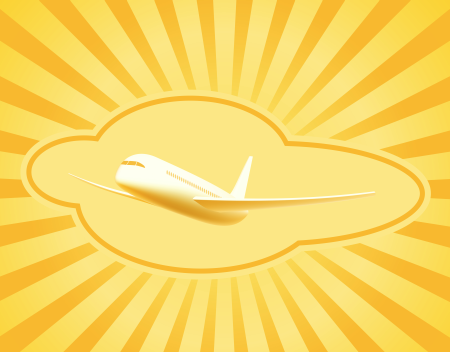 Туристический фон. Airline travel and tourism background with sunny beams