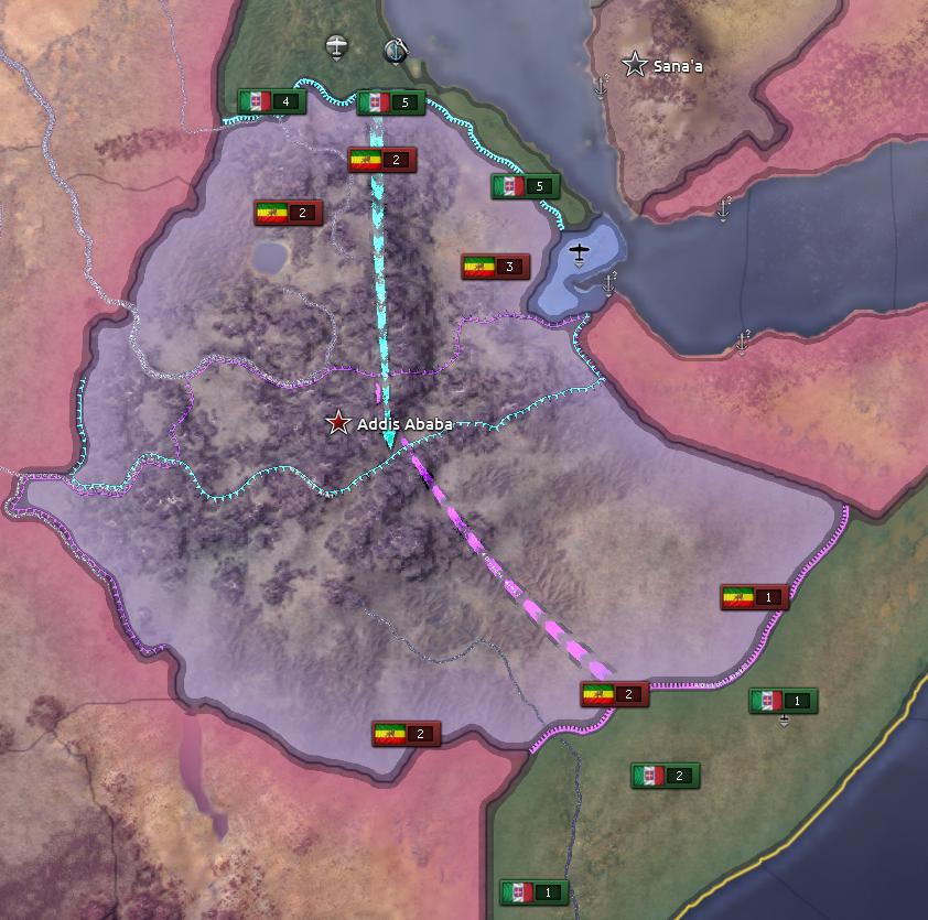 Italian battleplan to fight Ethiopia in Hearts of Iron IV