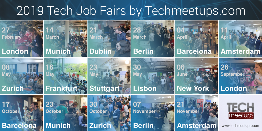 2019 Tech Job Fairs by Techmeetups.com