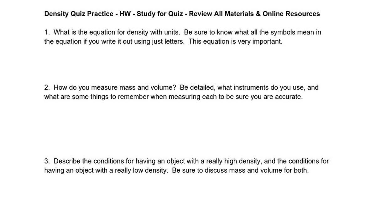 Density Review Questions Google Docs